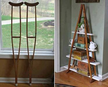 crutches to plant shelf