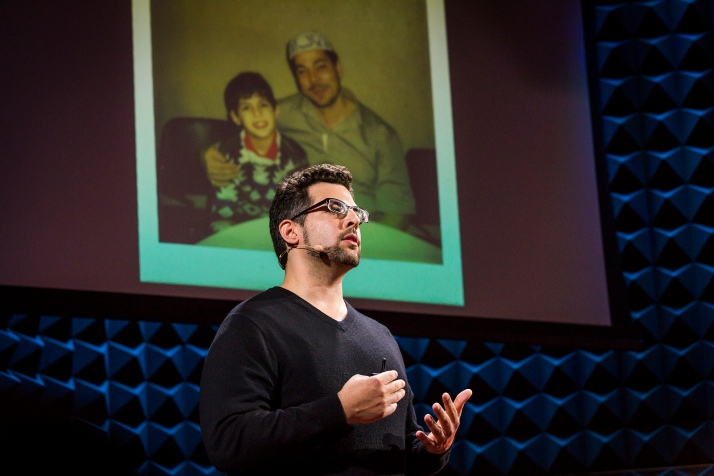 Zak Ebrahim stands before an image of him with his father. He spoke so eloquently at our audition event in New York City that we invited him to speak at the main TED conference. Photo: Ryan Lash
